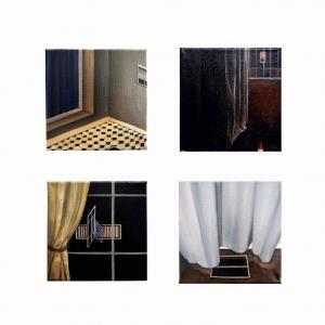 Série de mon espace, 2017, huile sur toile, 20 x 20 cm chacun