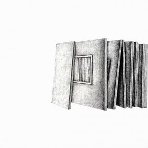 Vis-à-vis, 2018, graphite sur papier, 29.7 x 21.0 cm